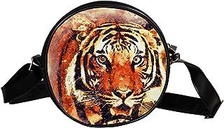 Coosun Tiger Portrait-Kunst, abstrakte runde Umhängetasche, Schultertasche, Handtasche, Umhängetasche, für Kinder und Damen