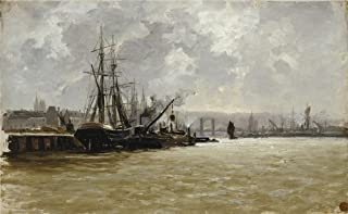 The Perfect Effect Canvas Of Oil Painting 'Haes Carlos De The Port Of Rouen Ca. 1884 ' ,size: 30 X 49 Inch / 76 X 124 Cm ,this Cheap But High Quality Art Decorative Art Decorative Prints On Canvas Is Fit For Laundry Room Gallery Art And Home Artwork And Gifts