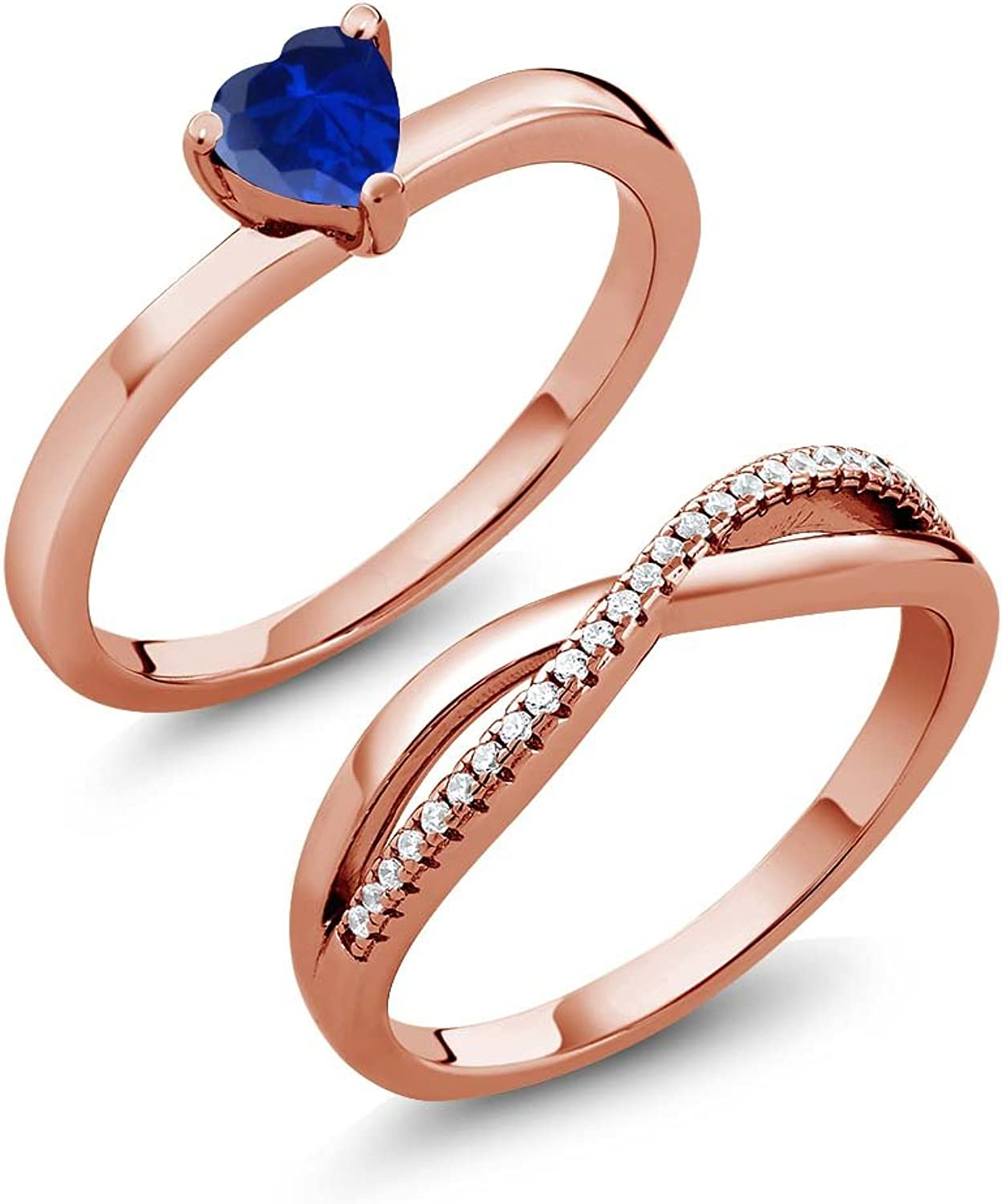 0.91 Ct bluee Simulated Sapphire 18K pink gold Plated Silver Engagement Wedding Ring Set