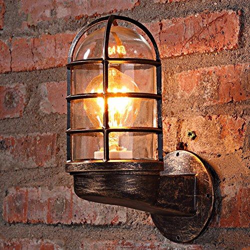 Antik Wandleuchte Vintage Industrie Esszimmer Wandlampe Innen WZOED Rustikal Metall Design Retro Landhaus Stil E27 Glühbirne für Innen Wohnzimmer Schlafzimmer Esstisch Küche Flur Lampe Deko