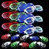 40 Pack LED Glasses Finger Lights Light up Party Favors, 6Color Light Up Shutter Shades Glasses Led Sunglasses 4Colors Finger Lights...