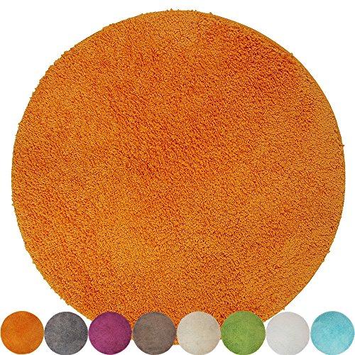 DILUMA Tapis de Bain Rond Lasalle Anti-Glissant et Douillet (diamètre 60 cm 1200 g/m²) - Absorbant et antidérapant, Couleur:Orange