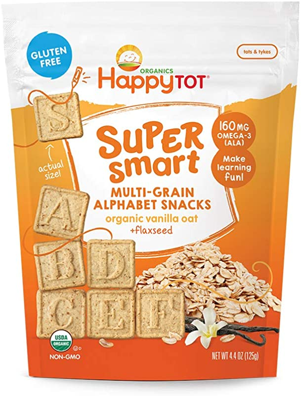 Happy Tot Super Smart Alphabet Snacks Organic Toddler Snacks Vanilla Oat Plus Flaxseed 8 Count