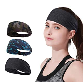 YOMYM 3 Pack Headbands Sports Sweat Band Hairband for Men Women Running, Basketball, Soccer, Tennis, Cycling, Cardio, Gym ...