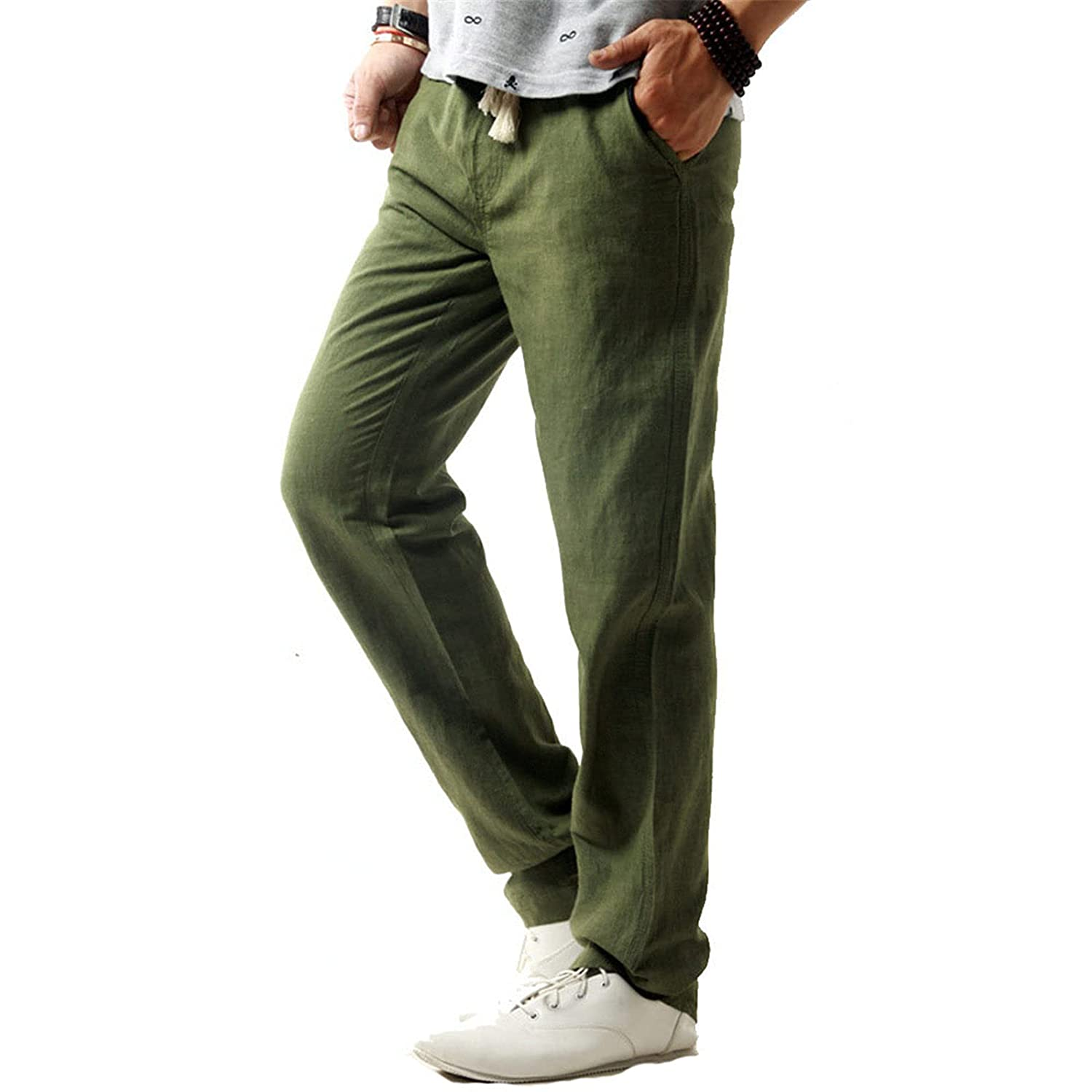 Mens Pants Simple and Fashionable Pants Summer Expandable-Waist Pure Cotton and Linen Trousers (4X-Large,Green)