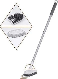 お風呂掃除 ブラシ 伸縮柄(約79~96CM) 角度調整可能 収納便利 ホワイト バスクリーナー 浴室掃除用ブラシ 浴槽ブラシ 2種類付替えヘッド