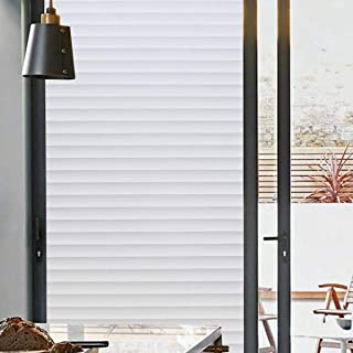 Bloss Privacy Window Film Bathroom Window Film Glass Films Faux Shutter Style Window Film Window Covering Anti UV No Glue Static Cling, 17.7-by-78.7 Inches