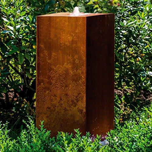 """Köhko® Würfelbrunnen """"Peru"""" Höhe 69 cm Gartenbrunnen 31005 aus Cortenstahl mit LED-Beleuchtung"""