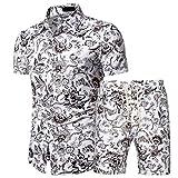 Playa Shirt Hombre Verano Moda Impresión Hombre Camuflaje T-Shirt Ajustados Botón Placket Lazada Manga Corta Set Casuales Vacaciones Hombre Hawaii Camisas Pantalones Cortos H-White 4XL