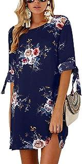 2019 Women Summer Dress Style Floral Print Chiffon Beach Dress Tunic Sundress Loose Mini Party Dress Vestidos Plus Size 5XL,Navy Blue,5XL