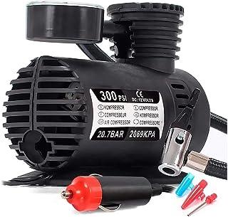 Compressor De Ar 12v 300 Psi Automotivo com 3 Bicos Adaptadores para Pneu de Carro Moto Bicicleta Bola Inflável
