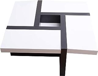 Rebecca Mobili Mesa de Centro Blanca Negra Muebles para Sala de Estar Modernos- Medidas: 35 x 80 x 80 cm (AxANxF) - Art. ...