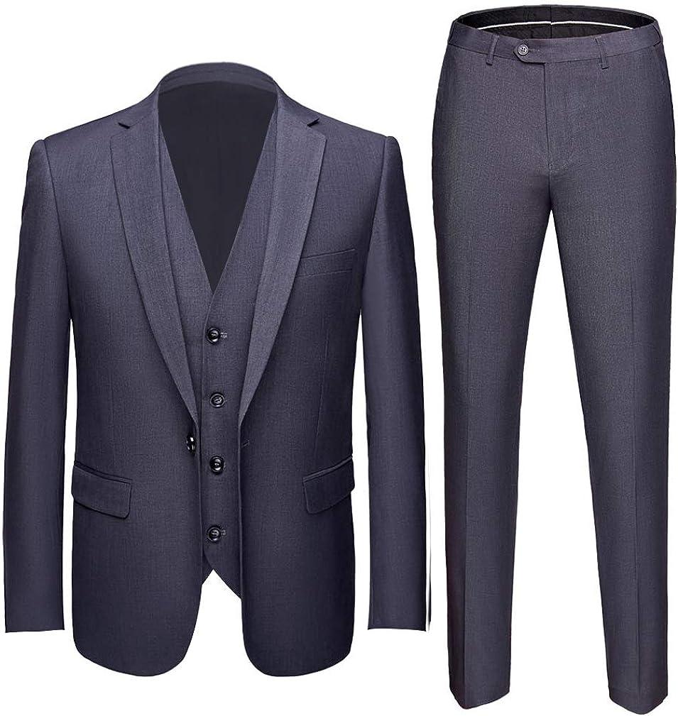 Slim Fit Peak Lapel One Button Suits 3 Pieces Wedding Suits Jacket Vest Pants Tuxedos