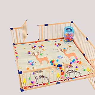 L TSA Baby Playpen with Locked Doors  Wood Safety Fence PlayYard for Toddler  Including Doors  Playmats  100 Balls and Basket