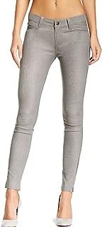 NBENTERPRISES Women Genuine Lambskin Leather Slim Fit Grey Pant