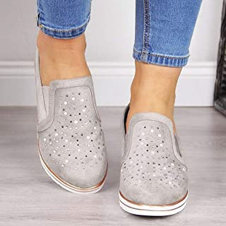 Casual Shoes for Ladies Slip on Flats Platform Sneakers Slip on Flats Comfortable Flats Shoes Rhinestones Classic Fashion Casual Shoes Footwear Female Oxford Shoes,Gray,39