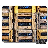 Anti Rutsch Gaming Mausepad,Pad Maus Unterlage,Gummiunterseite Mausmatte,Weinflaschen Weinkisten Box Holzkiste Holz Glatt Mousemat,Bürocomputer Pad,30X25Cm