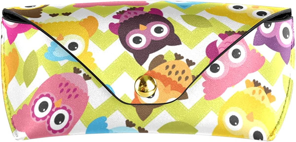 PU Leather Portable Goggles Bag Owl Background Pattern Multiuse Sunglasses Case Eyeglasses Pouch Office