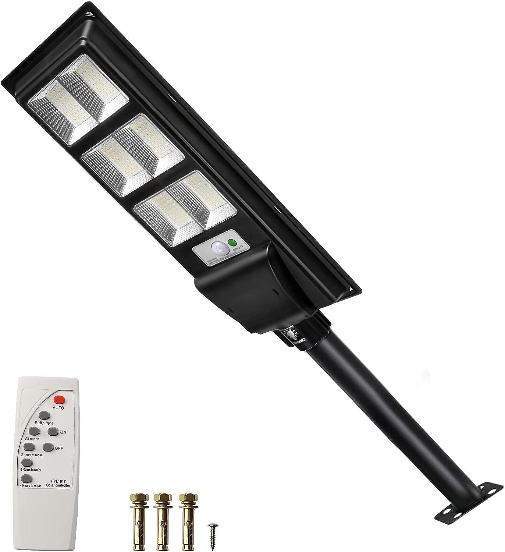SUNZWO 120 Watt Solar Street Light Outdoor ,Remote Control and Motion Sensor Design, Dusk to Dawn LED Flood Lamp with IP65 Waterproof for Wall Garden Patio Yard Garage Door Parking Basketball