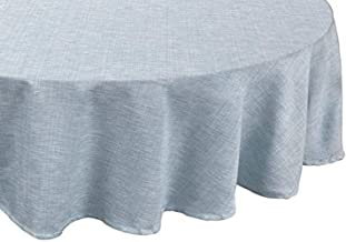 """Sweet Home Collection Café Deauville Chambray Vinyl Round Table Cloth Flannel Backing 70"""" Blue"""