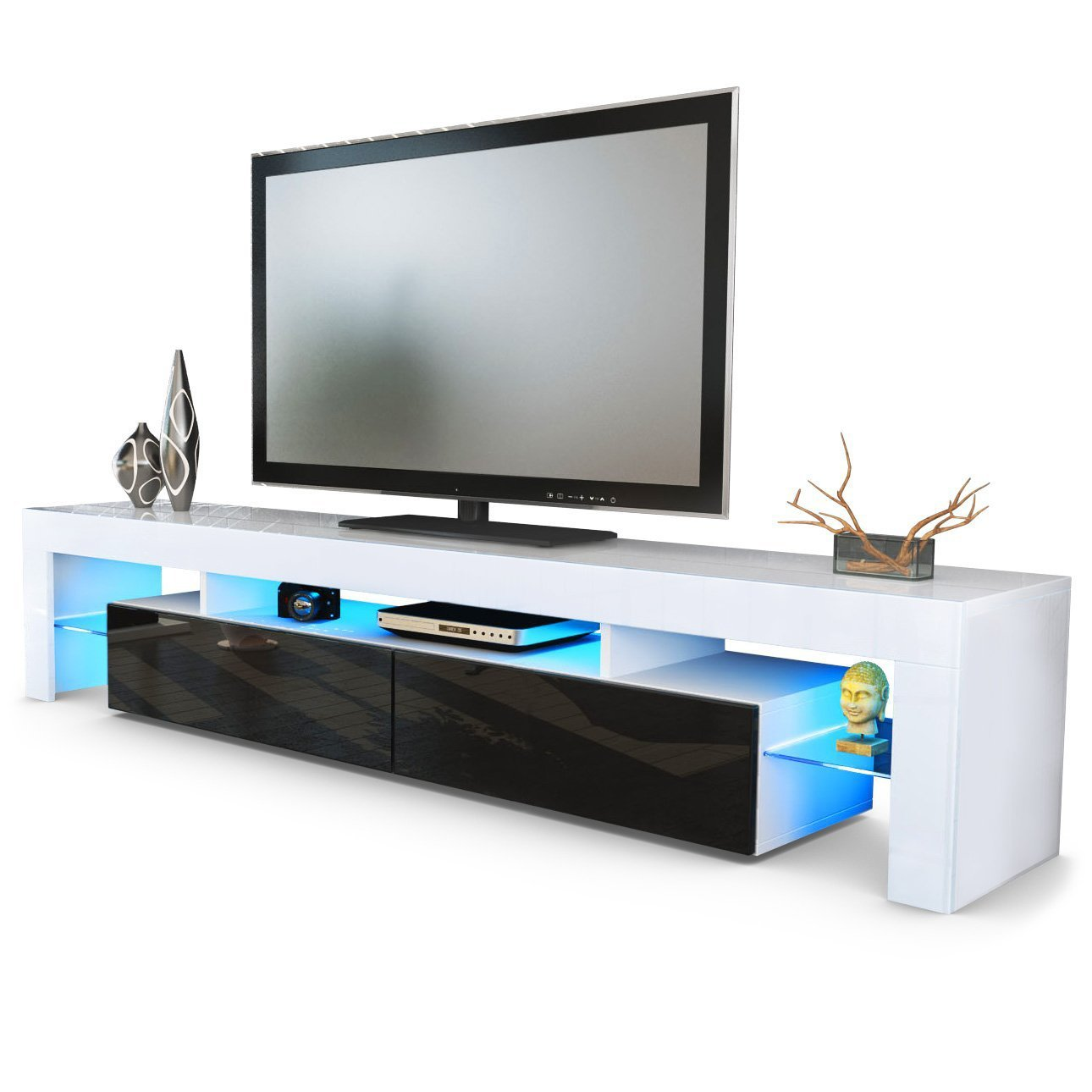 Domovero Helios 200 - Soporte Moderno para televisores de salón, Muebles, TV, Entretenimiento, con LED, Color Blanco y Negro: Amazon.es: Hogar