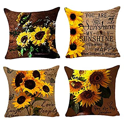 Andreannie Set of 4 Beautiful Charming Watercolor Oil Painting Red Poppy Cotton Linen Throw Pillow Case Cushion Cover New Home Office Indoor Decorative Square 18 X 18 Inches ?? (E)¡