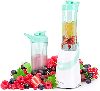 Secura 300W Personal Blender for Shakes and Smoothies | Stainless Blade | 2 (20 oz) Single Serving Bottles with Travel Lids,