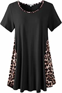 JollieLovin Plus Size Tops for Women Summer Short Sleeve Shirts Round Neck Leopard Tshirts Color Block Casual Loose Tunic