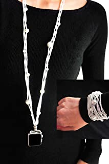 White Pearl Necklace Smartwatch Band 38mm of Series 3 2 1 / 40mm of Series 4 New Double Loop Two Way Bracelet Strap Neckba...