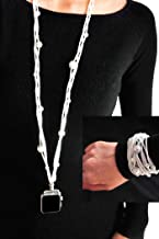 White Pearl Necklace Smartwatch Band 38mm of Series 3 2 1 / 40mm of Series 4 New Double Loop Two Way Bracelet Strap Neckband Handmade Replacement Accessories Adaptor Wearable Technology