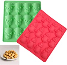 Neepanda Silicone 12 Little Pigs in a Blanket Baking Mold, Silicone Cake Baking Mold Pan for Muffin Tins, Non Stick Cute Pig Molds, BPA Free, Easy to Clean (2 Pack, Red & Green)