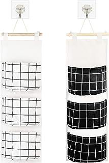 KATOOM 2PCS Sac de Rangement Suspendu,classiques noires et blanches tissu sac,panier à suspendre mur avec 3 poche Sacs Org...