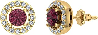 Natural Red Garnet Halo Stud Diamond Earrings 14K Yellow Gold