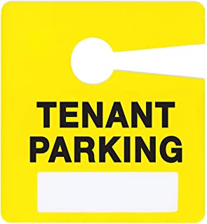 Tenant Parking Permit Pass Stock Hang Tags for Landlords, Commercial Office Buildings, Car Lots, Apartments, by Milcoast,10 Pack (Yellow)