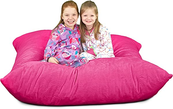 ULTIMATE SACK Ultimate Pillow Giant Foam Filled Furniture Machine Washable Covers Double Stitched Seams Durable Inner Liner And 100 Virgin Foam Giant Pillow Pink Fur