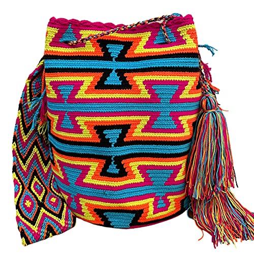 Ancdream Bolsos Colombianos, Mochila Wayuu, 100% Algodón Colombiano Original Bolso Bucket Hecho A Mano