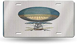 dsdsgog Inlaid Standard Abstract Vintage Card with Hot Air Balloon and Background Made of Stripes-3 12x6 inches,Car Tag 12