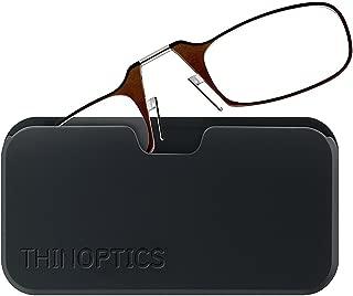 ThinOptics Reading Glasses + Black Universal Pod Case | Brown Frame, 2.00 Strength Readers