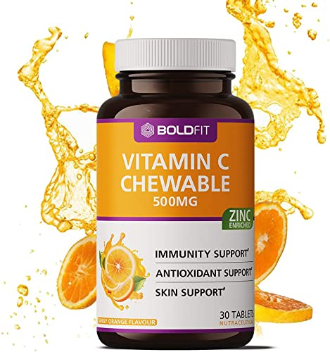Boldfit Vitamin C With Zinc Chewable Tablets 500mg Immunity Booster for Men Women Kids Antioxidant Skin Support Delicious Tangy Orange Flavour 30 Vegetarian Tablets