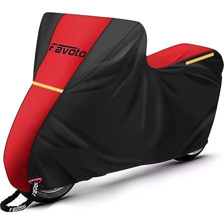 Favoto Housse de Protection Imperméable pour Moto Scooter Vélo Couverture 210D, Résistant aux Soleil Pluie Poussière Vent Neige Feuilles Déjections d'oiseaux, 245x105x125cm Rouge+Noir