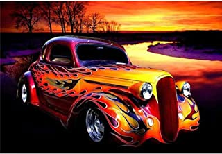 DIY 5D Diamond Painting by Number Kits,Rhinestone Diamond Embroidery Paintings Pictures for Home Wall Decor Flames Car 15....