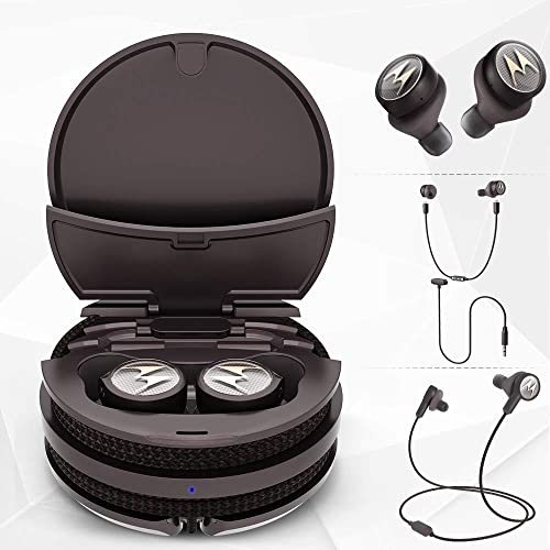 wholesale Motorola Tech3 3-in-1 Smart True Wireless Headphones - Cordless high quality Earbuds, Sport Wire, Audio Plug-in outlet sale - Sweatproof, Built-in Microphone, Charging Case with Cable Storage System - Mocha-Bronze online