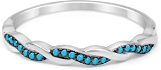 Half Eternity Infinity Twisted Band Ring Round Simulated Red Garnet 925 Sterling Silver