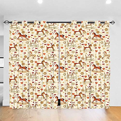 Anyangeight Toy Horse Window Curtain Vintage Rocking Horse Toy with Star and Bow Tie Grunge Elements Christmas Theme Full Light Blocking Drapes Multicolor for Bedroom 76'x45'Inch