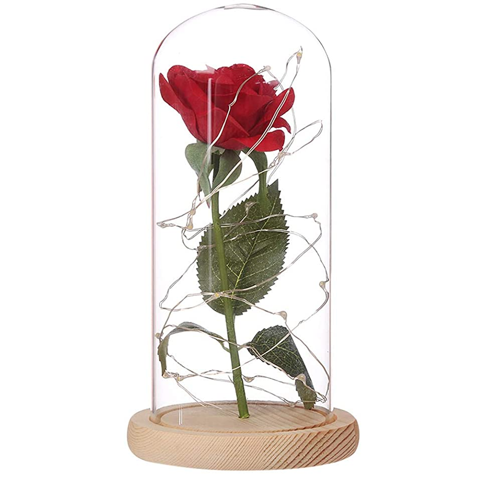 適切に迷路薄い造花 バラ プリザー 造花ライト LED お供え花 木製ベース 飾りランプ バレンタイン 母の日 誕生日 プレゼント 結婚ギフト