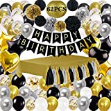 Happy Storm Black and Gold Party Decorations 62PCS Black and Gold Party Supplies Including Happy Birthday Banner Gold Tablecloth Paper Pom Poms Tassels for Party Decor Black and Gold