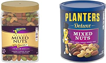PLANTERS Deluxe Salted Mixed Nuts, 34 oz. Resealable Canister & Deluxe Mixed Nuts with Hazelnuts, 15.25 oz. Resealable Jar...
