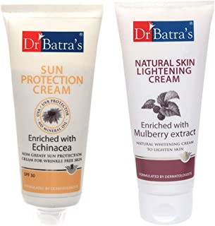 Dr Batra's Sun Protection Cream - 100 gm and Natural Skin Lightening Cream - 100 gm ( Pack of 2 Men and Women)