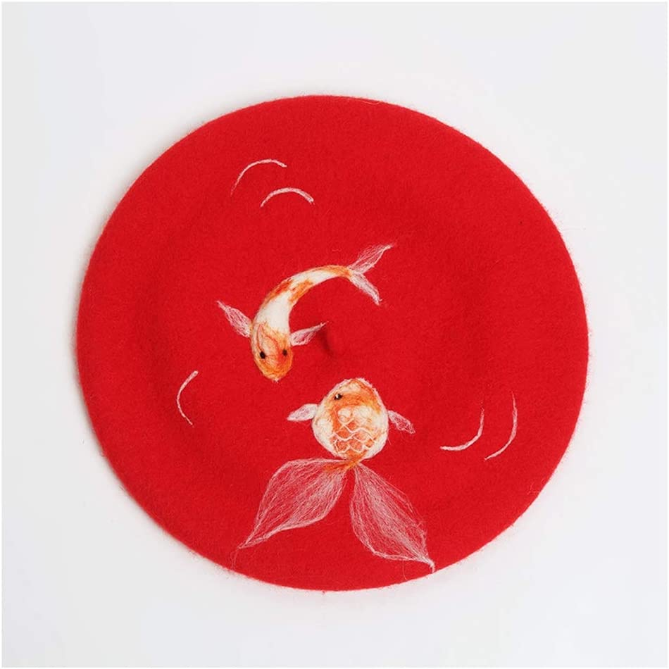 Red Berets Wool Handmade Animal Lady Fashion Wedding Gift Hat Festive Fashion Lovely Cap ZRZZUS (Color : Red, Size : 56-58CM)
