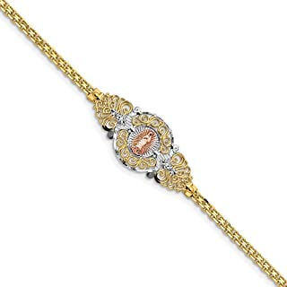 14k Two Tone Yellow Gold Our Lady Of Guadalupe Bracelet 7 Inch Religious Fine Jewelry Gifts For Women For Her